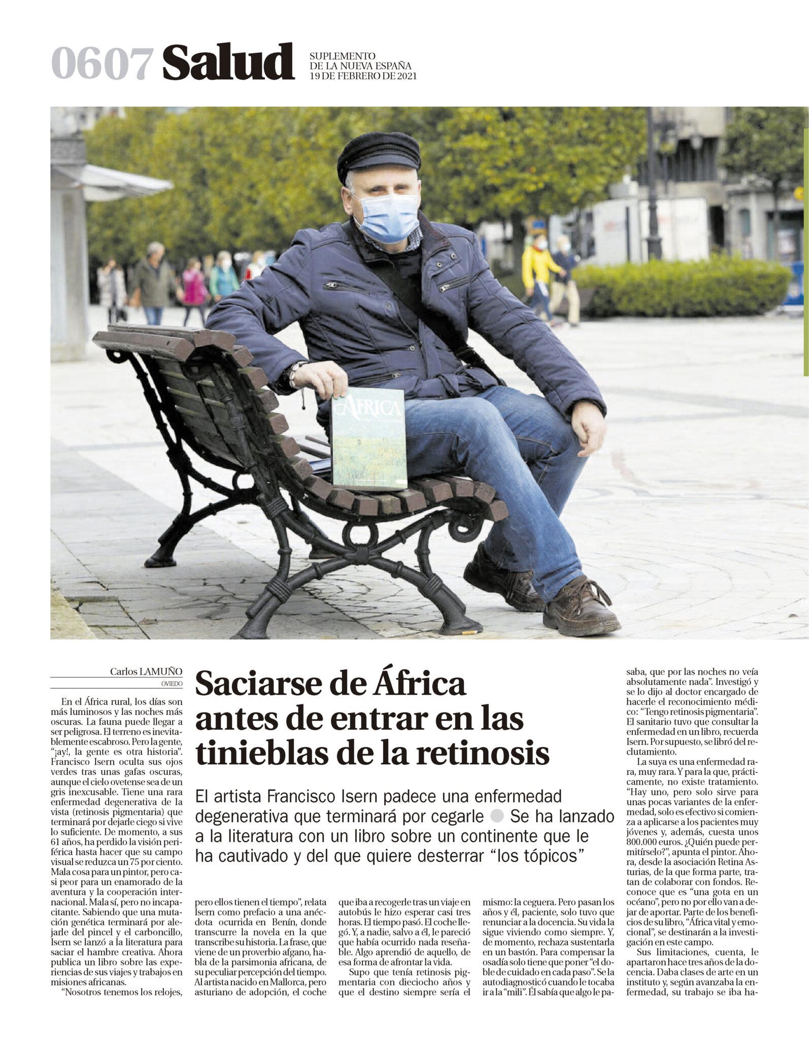 La nueva España, Artículo sobre Africa vital y emocional. Francisco Isern. Autor Avant Editorial 1